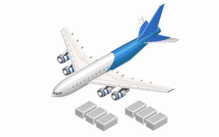 3D立体蓝白色涂装的货运飞机和货物物流png图片免抠矢量素材