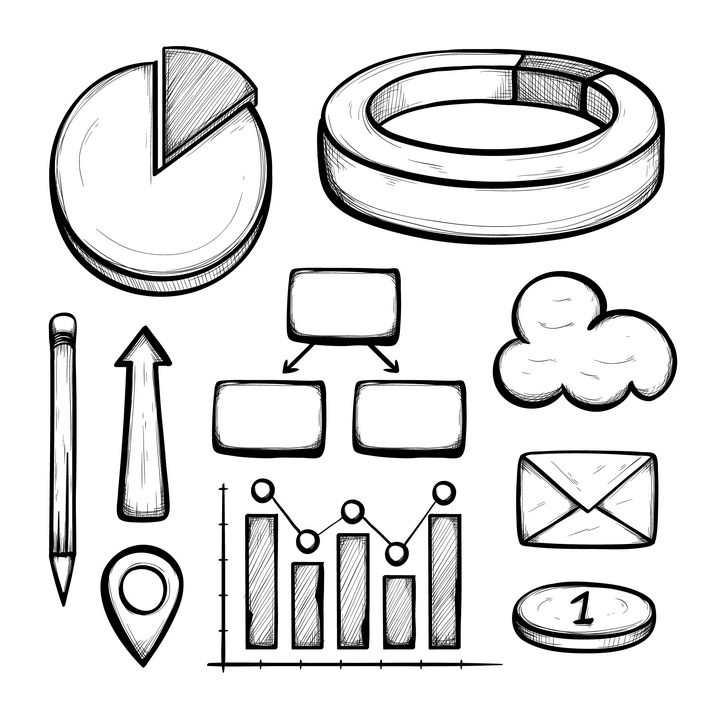 手绘素描风格立体饼形图百分比环形图箭头铅笔定位符号柱形图组织图等PPT信息图表图片免抠矢量素材