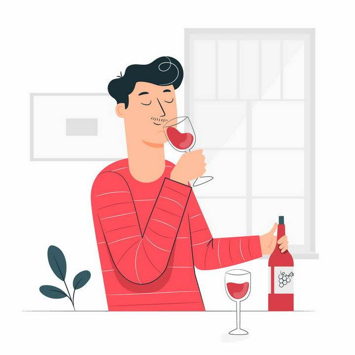 扁平插画风格品酒喝红酒的男人png图片免抠矢量素材