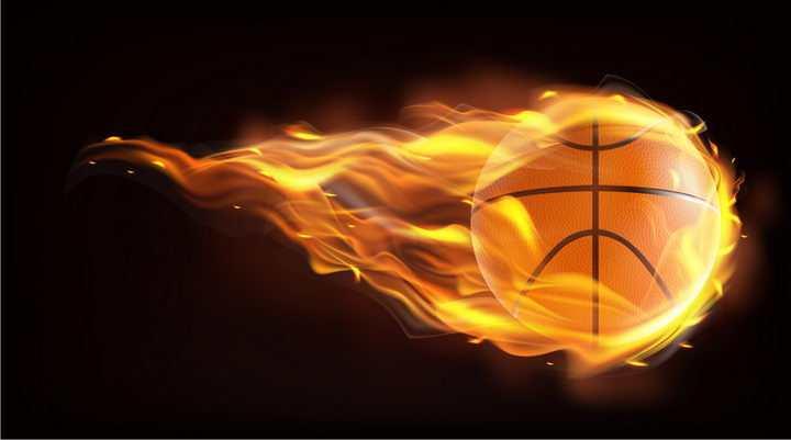 飞行中燃烧着火焰的篮球png图片免抠矢量素材