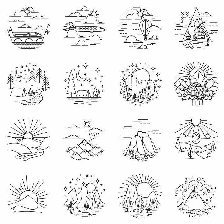 16款线条山水旅游风景图简笔画png图片免抠矢量素材