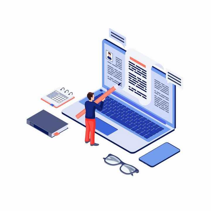 2.5D风格在笔记本电脑屏幕上指指点点的程序员png图片免抠矢量素材