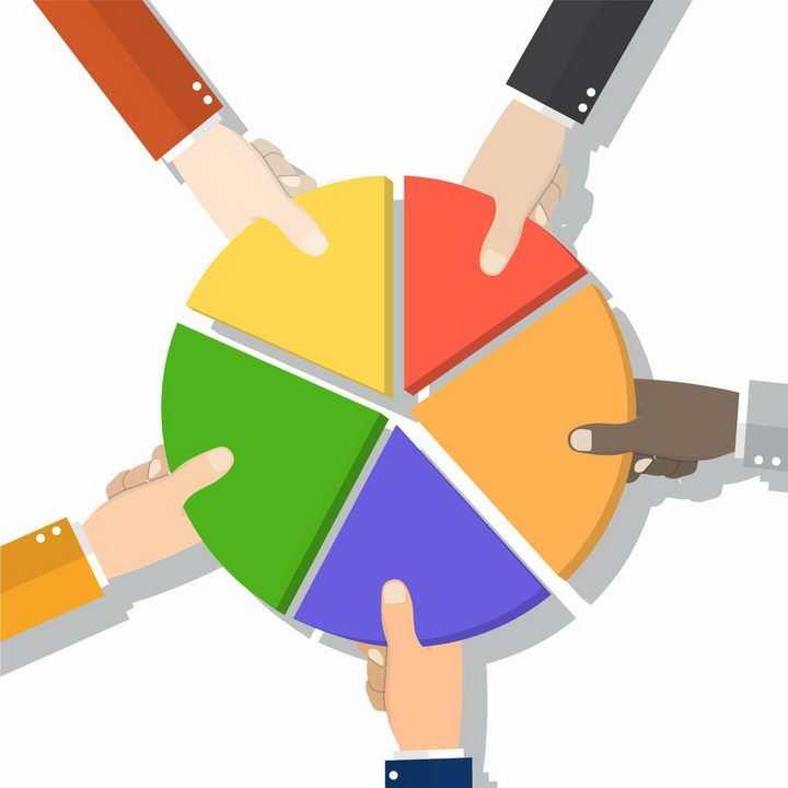 5个手拿着饼形图的一部分拼图成一个完整的圆象征了团结png图片免抠矢量素材