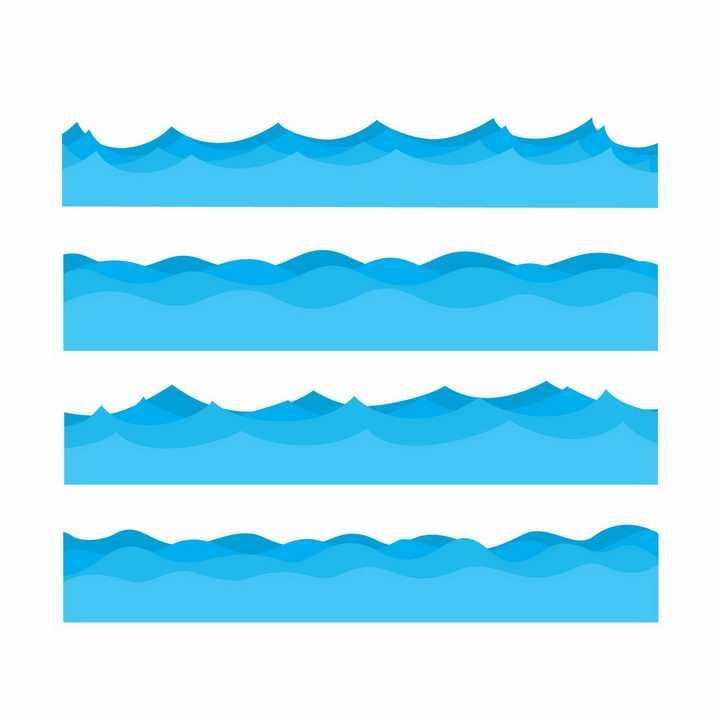 4款蓝色卡通波浪海浪装饰png图片免抠矢量素材