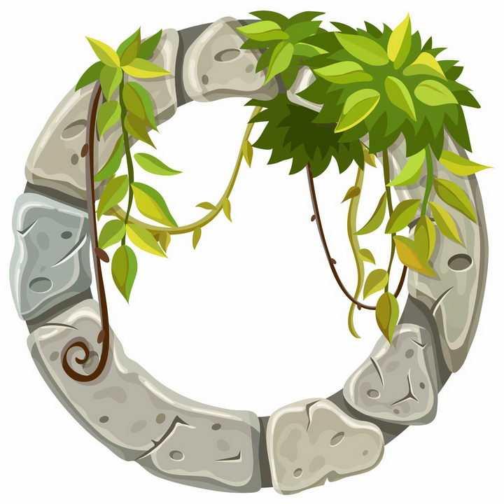 长了树叶藤蔓的石头圆环png图片免抠矢量素材