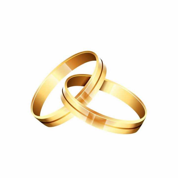 两只黄金求婚戒指结婚戒指订婚戒指png图片免抠矢量素材