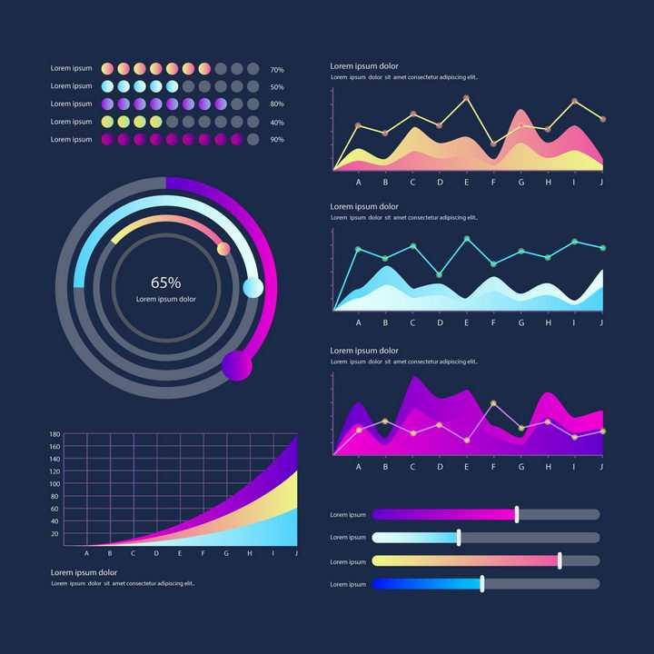 渐变色炫丽点阵图环形比例图曲线图折线图条形图等PPT数据图表png图片免抠eps矢量素材