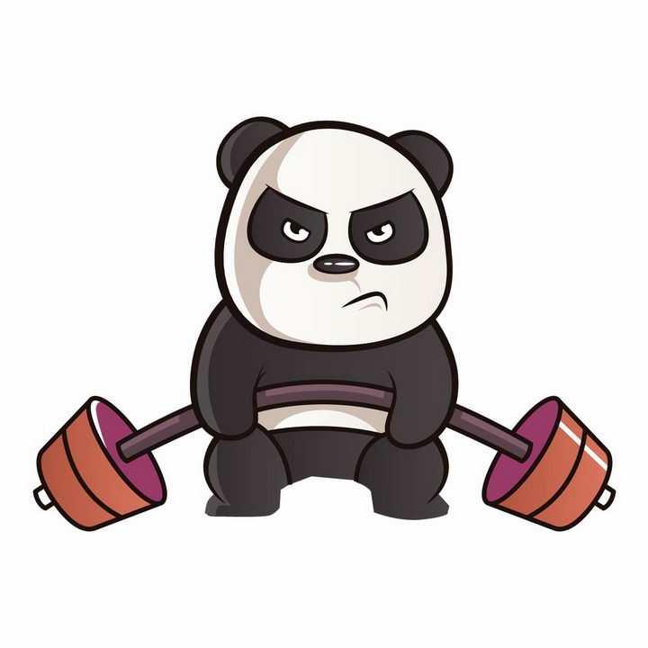 正在用力举重的卡通熊猫png图片免抠矢量素材