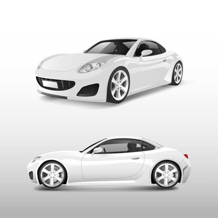 白色单门跑车汽车侧视图和侧前方图png图片免抠矢量素材