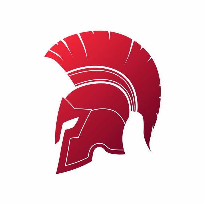 红色的古罗马战士角斗士头盔帽子图案png图片免抠矢量素材