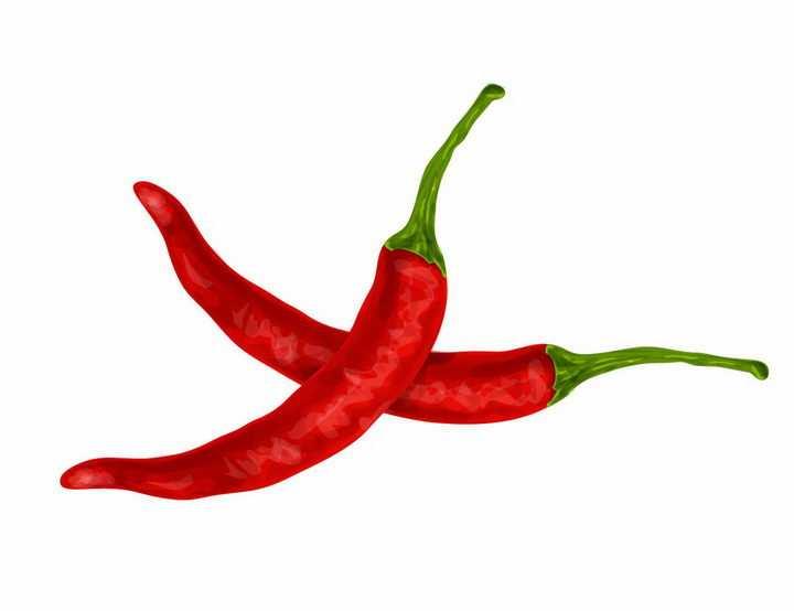 两颗火红色的尖辣椒png图片免抠矢量素材