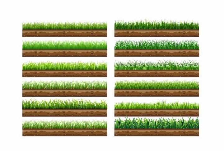 12款土壤解剖图地面上的草地草坪草地png图片免抠矢量素材