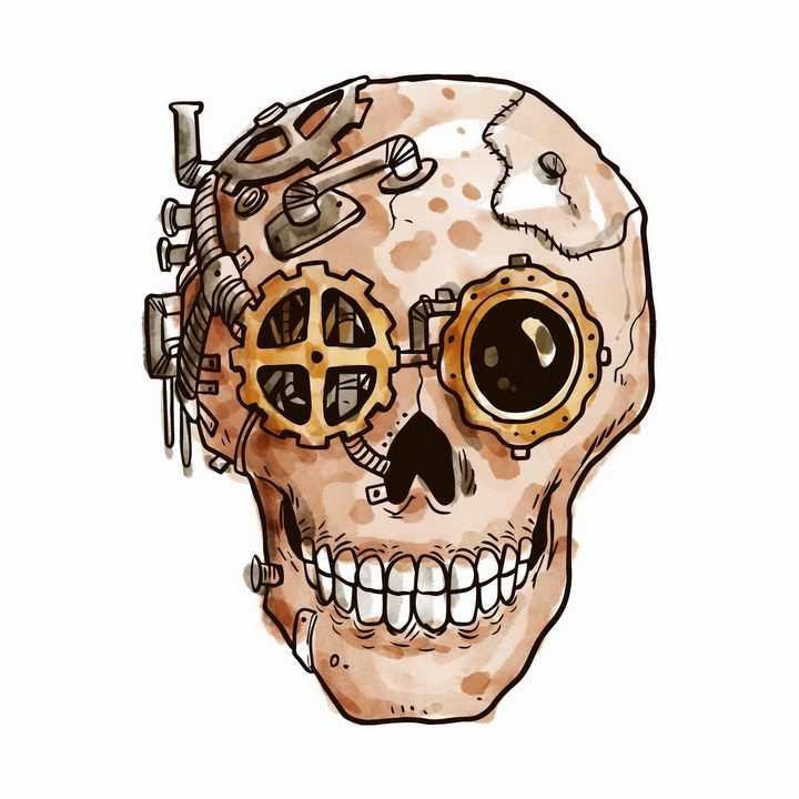 手绘蒸汽朋克风格骷髅头png图片免抠矢量素材