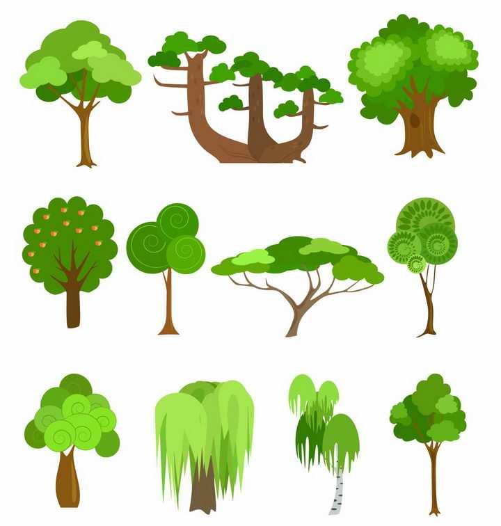 11款手绘卡通风格绿色大树柳树png图片免抠矢量素材