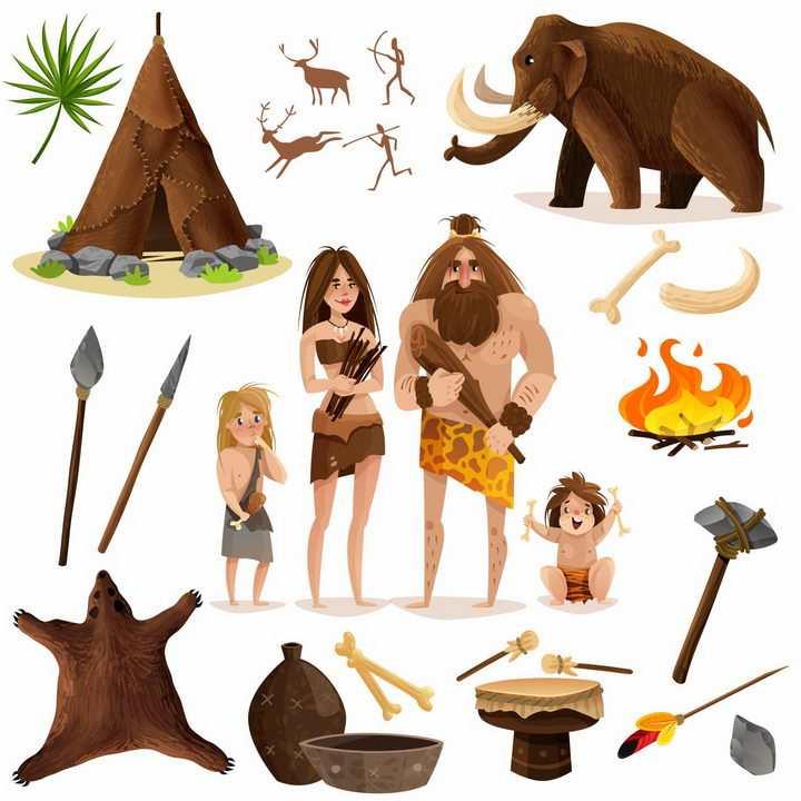 卡通猛犸象原始人远古人类石斧长矛等原始社会史前社会png图片免抠矢量素材