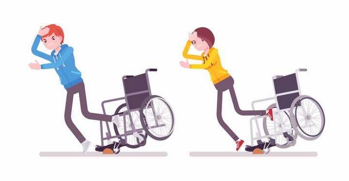 轮椅撞到石头导致人跌倒盲道不规范公益配图png图片免抠矢量素材