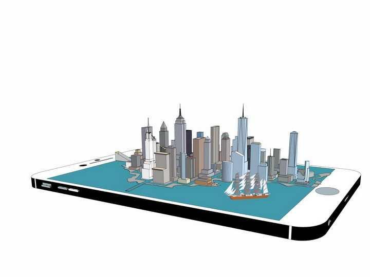 手机上的海边立体城市建筑png图片免抠矢量素材