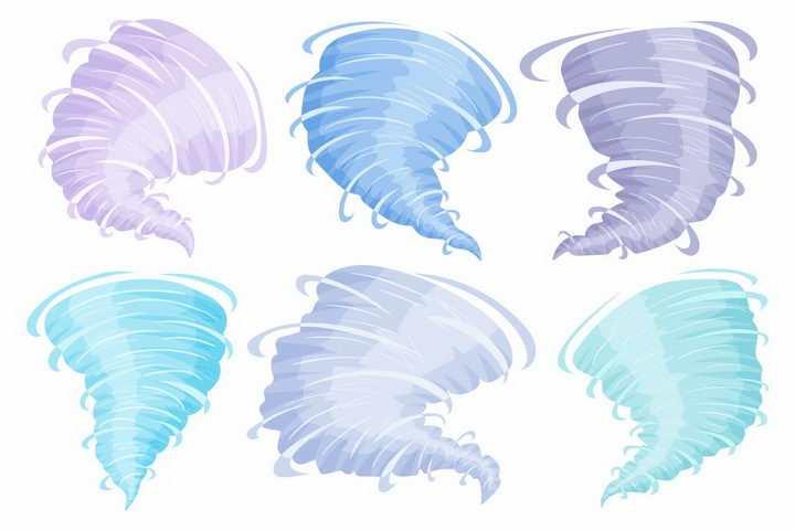 6款紫色蓝色的龙卷风天气自然奇观png图片免抠矢量素材