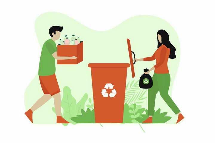 扁平插画风格打开垃圾桶垃圾分类png图片免抠矢量素材