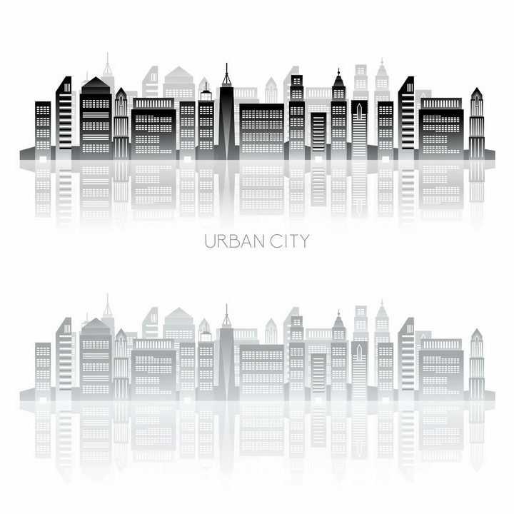 两款透着窗户的城市建筑天际线剪影png图片免抠矢量素材