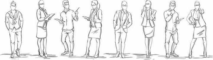 8个手绘素描风格商务人士职场女性png图片免抠矢量素材