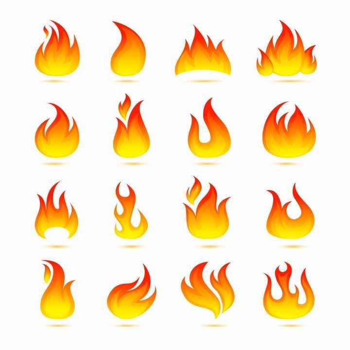 16款红色黄色渐变色风格火焰火苗标志图案图片png免抠素材