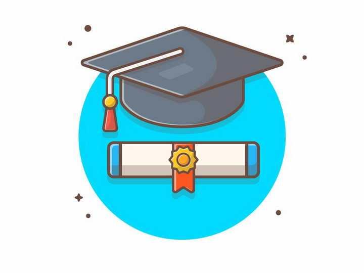 MBE风格卡通博士帽和毕业证书png图片免抠矢量素材
