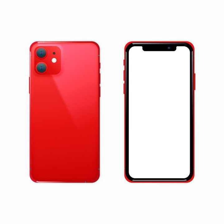 空白屏幕红色苹果iPhone 11 Pro智能手机正反面png图片免抠eps矢量素材