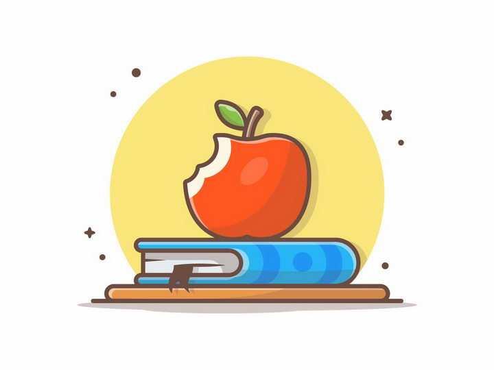 MBE风格卡通咬一口的苹果和书本png图片免抠矢量素材