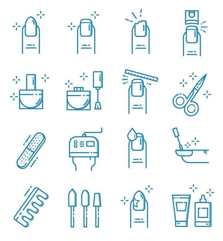 16种蓝色美甲剪指甲图标图片免抠矢量素材