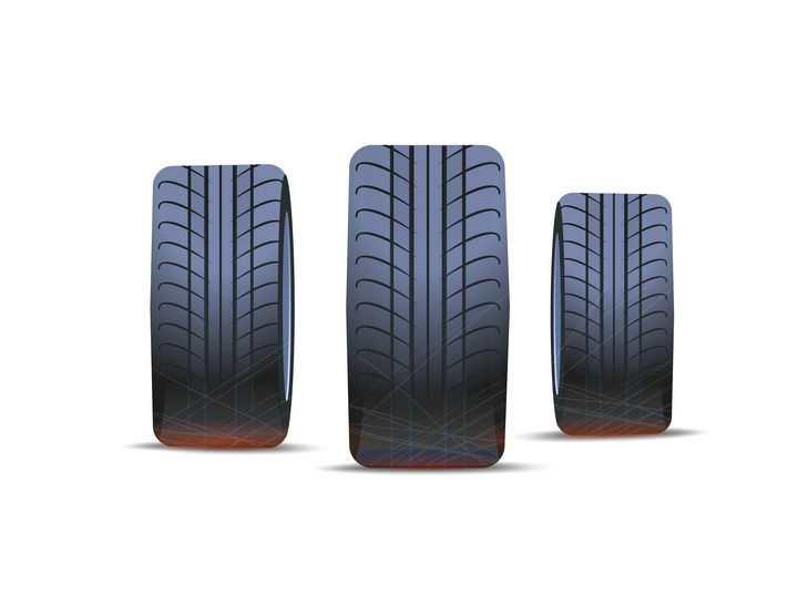3款汽车轮胎正面图png图片免抠矢量素材