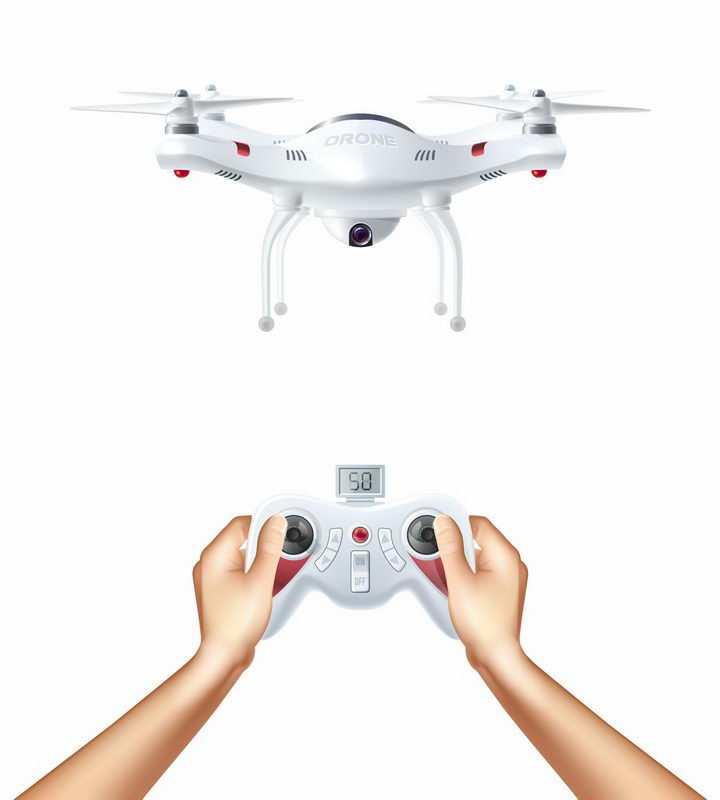 正在用遥控器操作的白色四轴无人机带摄像头的遥控飞行器png图片免抠矢量素材