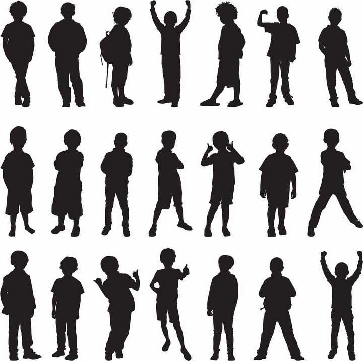 各种站立的小学生孩子儿童剪影png图片免抠矢量素材