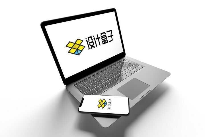 悬浮的灰色苹果MacBook Pro笔记本电脑和iPhone手机屏幕显示样机图片设计模板素材