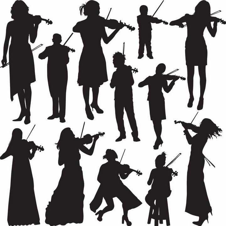 各种正在拉小提琴演奏音乐乐器的美女人物剪影png图片免抠矢量素材