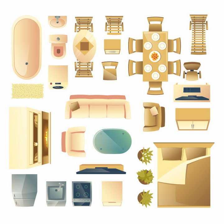 俯视视角的浴缸洗手池沙发床电视柜餐桌等家具平面图png图片免抠矢量素材