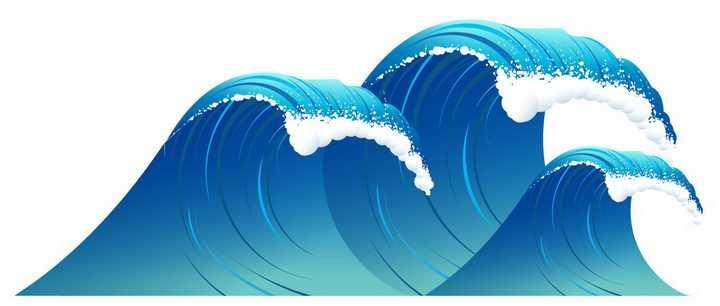 高高的蓝色海浪波浪浪花png图片免抠矢量素材