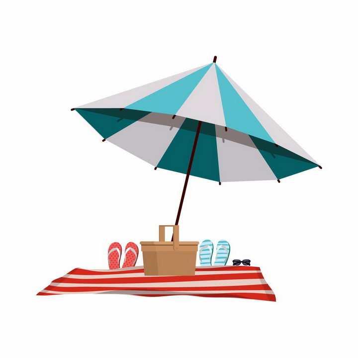 扁平化风格蓝色白色相间的遮阳伞和沙滩鞋png图片免抠eps矢量素材