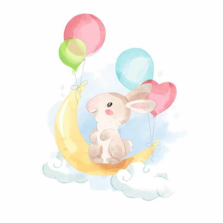 彩绘风格卡通兔子坐在由气球拉着的弯弯的月亮上png图片免抠矢量素材