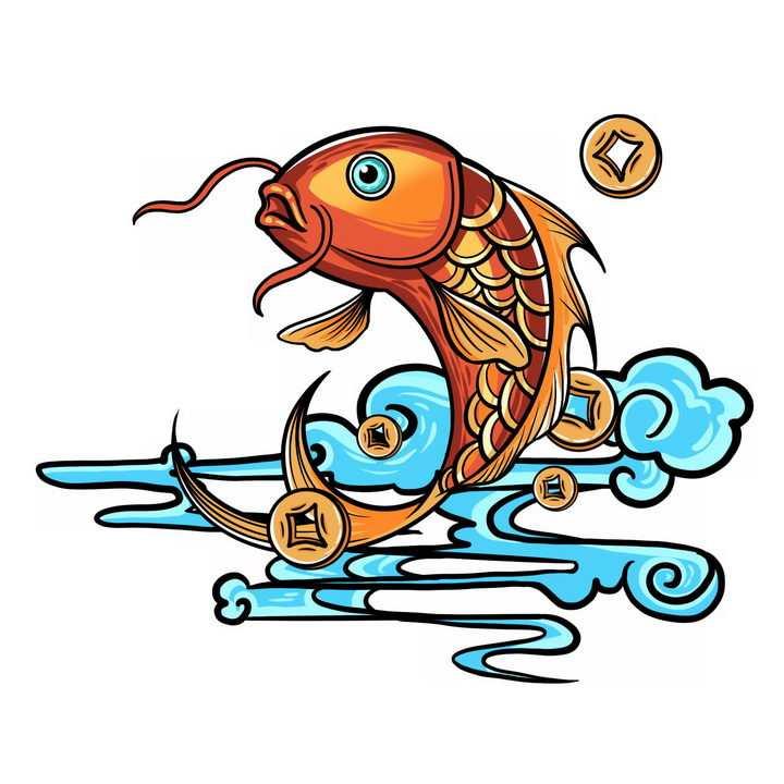 跳跃出天蓝色海水的中国风鲤鱼锦鲤png图片免抠素材