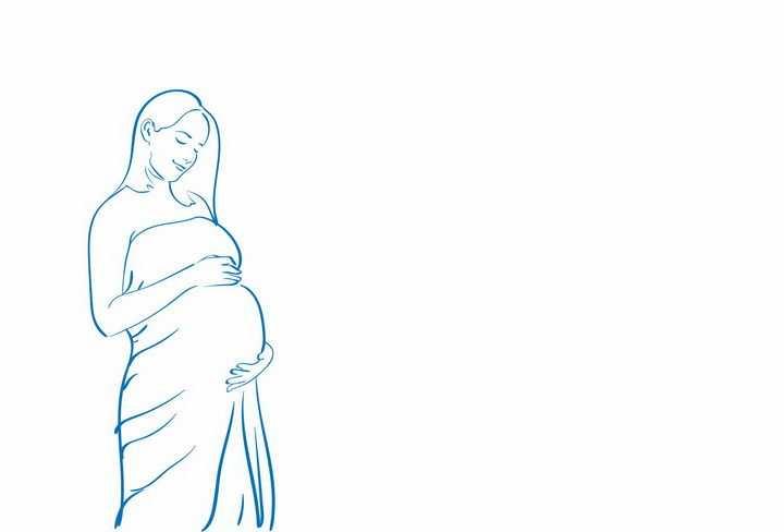 蓝色线条抚摸肚子的怀孕美女孕妇png图片免抠矢量素材