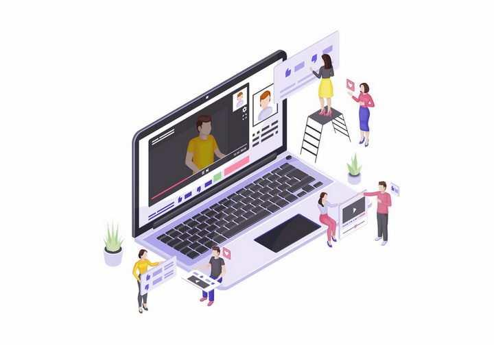 2.5D风格笔记本电脑上视频网站上的视频制作上传和播放png图片免抠矢量素材