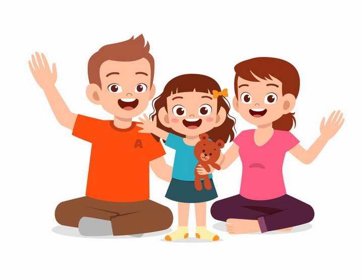 盘坐在地上的卡通爸爸妈妈和女儿温馨的一家人一家三口png图片免抠矢量素材