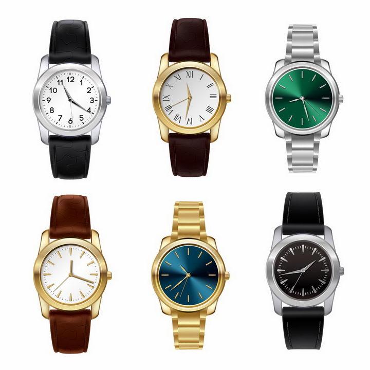 6款不同表带不同颜色表盘的机械手表png图片免抠矢量素材 生活素材-第1张