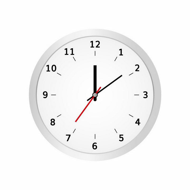 简约风格银白色时钟表盘时针分针秒针png图片免抠矢量素材 生活素材-第1张