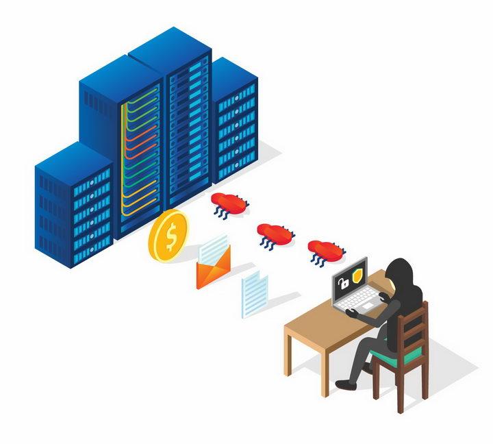 2.5D风格黑客正在向服务器植入象征BUG的木马程序盗取个人隐私png图片免抠矢量素材 IT科技-第1张