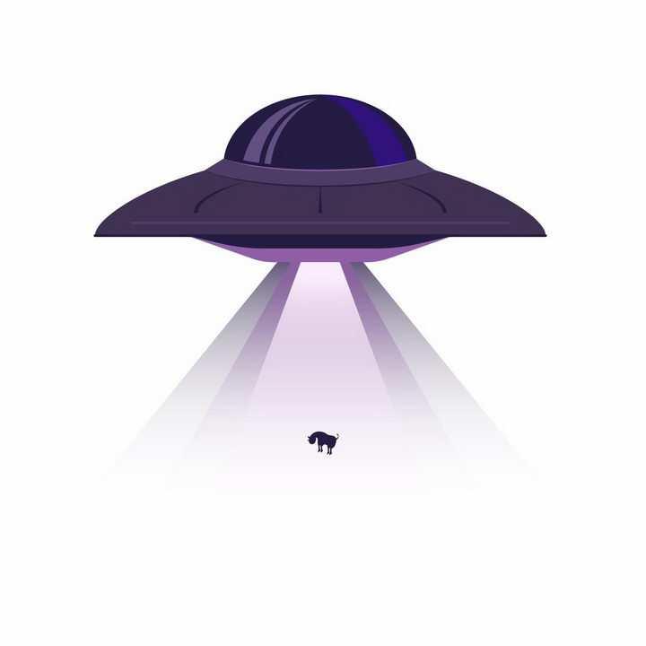 卡通不明飞行物UFO飞碟绑架一头牛事件png图片免抠矢量素材