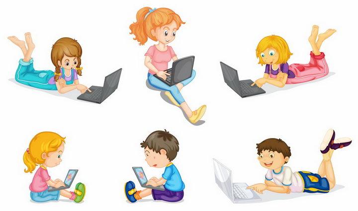6款趴在地上使用笔记本电脑的卡通小孩png图片免抠矢量素材 人物素材-第1张