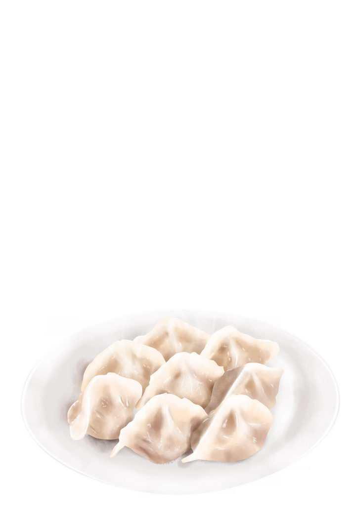 一盘飘着热气的美味饺子水饺png图片免抠素材