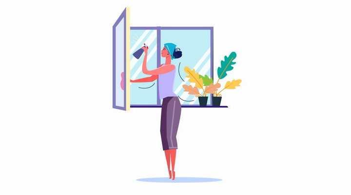 扁平插画女孩正在擦窗户打扫卫生png图片免抠矢量素材